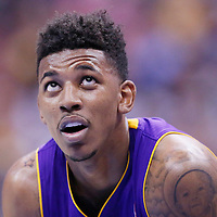 06 April 2014: Los Angeles Lakers forward Nick Young (0) rests during the Los Angeles Clippers 120-97 victory over the Los Angeles Lakers at the Staples Center, Los Angeles, California, USA.