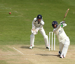 Durham's Usman Arshad hits over the top - Photo mandatory by-line: Robbie Stephenson/JMP - Mobile: 07966 386802 - 04/05/2015 - SPORT - Football - London - Lords  - Middlesex CCC v Durham CCC - County Championship Division One
