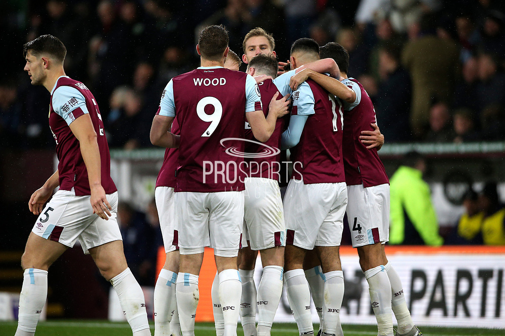 Burnley celebrate their third goal during the Premier League match between Burnley and West Ham United at Turf Moor, Burnley, England on 9 November 2019.