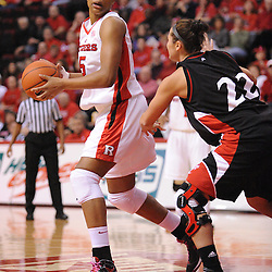 Feb 24, 2009; Piscataway, NJ, USA; Rutgers center Kia Vaughn (15) looks for an opening in the defense of Cincinnati forward Shelly Bellman (22) during the first half of Rutgers' 71-53 victory over Cincinnati at the Louis Brown Athletic Center.