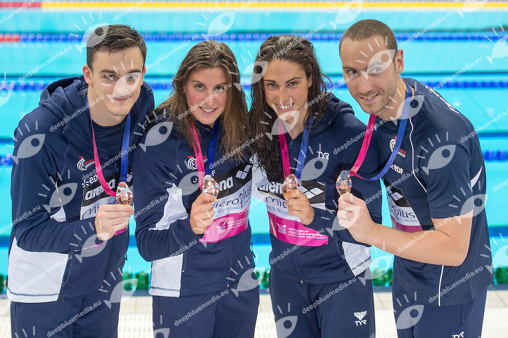FRANCE Bronze Medal <br /> MIGNON Clement STRAVIUS Jeremy BONNET Charlotte SANTAMANS Anna<br /> 4x100m Mixed Freestyle Final<br /> London, Queen Elizabeth II Olympic Park Pool <br /> LEN 2016 European Aquatics Elite Championships <br /> Swimming<br /> Day 12 20-05-2016<br /> Photo Andrea Staccioli/Deepbluemedia/Insidefoto