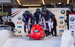 19.01.2020, Olympia Eiskanal, Innsbruck, AUT, BMW IBSF Weltcup Bob und Skeleton, Igls, Bob Viersitzer, Herren, im Bild Pilot Suk Youngjin mit Kim Kyunghyun, Kim Daehwan, Kang Han (CHN) // Pilot Suk Youngjin mit Kim Kyunghyun Kim Daehwan Kang Han of Korea during the four-man Bobsleigh competition of BMW IBSF World Cup at the Olympia Eiskanal in Innsbruck, Austria on 2020/01/19. EXPA Pictures © 2020, PhotoCredit: EXPA/ Peter Rinderer