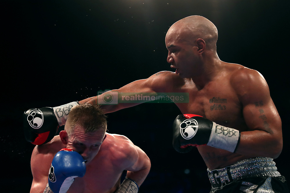 Ted Cheeseman (left) and Carson Jones during the WBA International Super-Welterweight Championship bout at The O2 Arena, London.