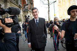 © Licensed to London News Pictures. 29/03/2019. London, UK. Brexiteer JACOB REES-MOGG seen leaving Parliament after MPs rejected Theresa May's withdrawal agreement. Photo credit: Ben Cawthra/LNP