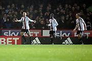 Brentford defender Nico Yennaris (8) celebrating scoring 2-0 during the EFL Sky Bet Championship match between Brentford and Aston Villa at Griffin Park, London, England on 31 January 2017. Photo by Matthew Redman.