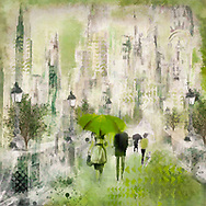 Painterly rendering of an urban scene with sketched people with umbrellas walking along a street with lanterns and trees against a background of skyscrapers in warm green tones