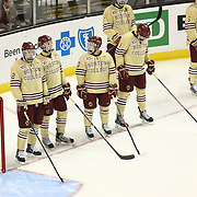 Members of the Boston College Eagles are seen during The Beanpot Championship Game at TD Garden on February 10, 2014 in Boston, Massachusetts. (Photo by Elan Kawesch)