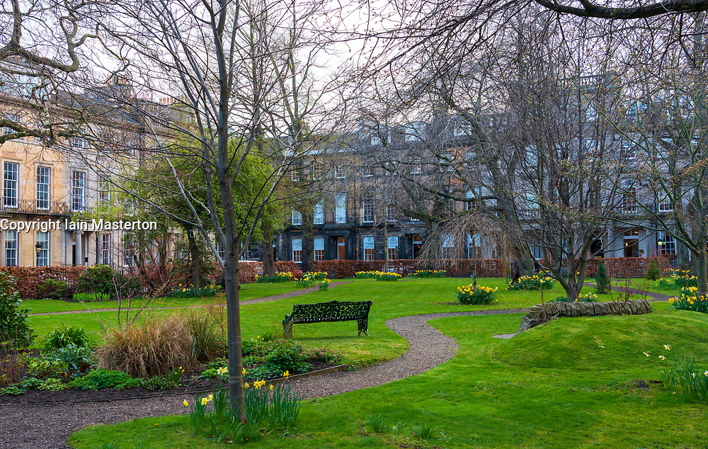 Private garden in Rutland Square in Edinburgh, Scotland,UK