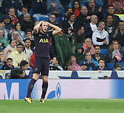 Harry Kane disappointed during the Champions League match between Real Madrid and Tottenham Hotspur at the Santiago Bernabeu Stadium, Madrid, Spain on 17 October 2017. Photo by Ahmad Morra.