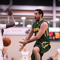 5th year guard Alex Igual (4) of the Regina Cougars during the Men's Basketball home game on November 25 at Centre for Kinesiology, Health and Sport. Credit: Casey Marshall/Arthur Images
