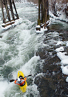 New Years Day Kayak run at Trestle Park in Franklin, NH