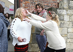 © Licensed to London News Pictures. 29/04/2017. Hartlepool UK. A fight breaks out between a UKIP party supporter (left) and Pro EU campaigner from North East for Europe (Right) in Hartlepool, County Durham, before UKIP leader Paul Nuttall heads out on the campaign trail. Photo credit: Andrew McCaren/LNP