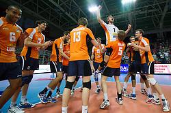 01-07-2012 VOLLEYBAL: EUROPEAN LEAGUE TURKIJE - NEDERLAND: ANKARA<br /> Nederland wint de European League 2012 door Turkije met 3-2 te verslaan / <br /> Vreugde bij Nederland met Gijs Jorna<br /> ©2012-FotoHoogendoorn.nl/Conny Kurth
