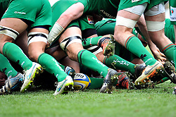 A general view of London Irish forwards in possession of the ball at a scrum - Photo mandatory by-line: Patrick Khachfe/JMP - Mobile: 07966 386802 12/04/2015 - SPORT - RUGBY UNION - Reading - Madejski Stadium - London Irish v Sale Sharks - Aviva Premiership
