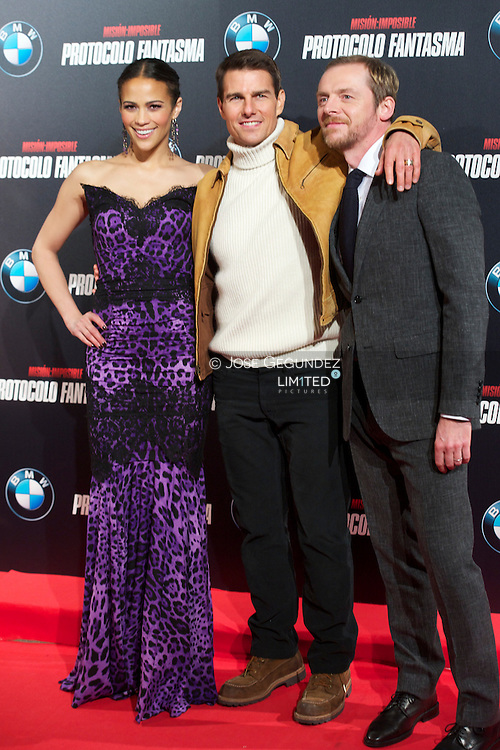 Actors Tom Cruise, Paula Patton, Simon Pegg attend the 'Mission: Impossible - Ghost Protocol' Premiere at the Callao Cinema on December 12, 2011 in Madrid, Spain