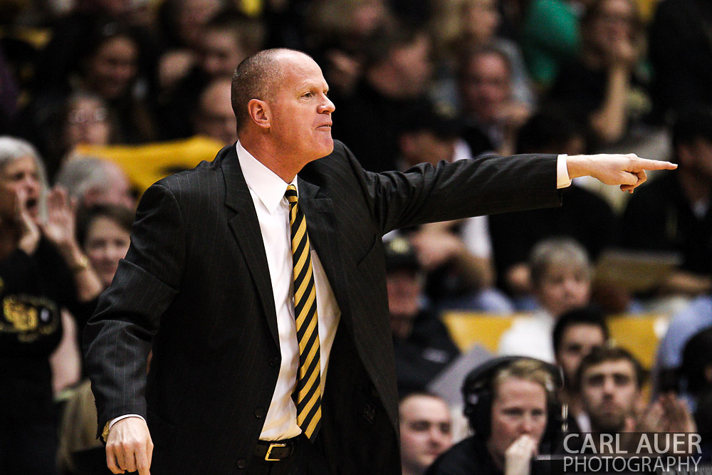 March 3, 2013: Boulder, Colorado - Colorado Buffaloes head coach Tad Boyle calls out a play during the Colorado Buffaloes game against the University of Oregon Ducks at the Coors Events Center