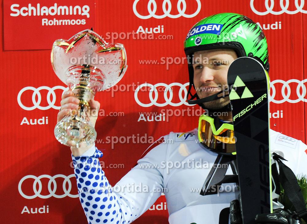 27.01.2015, Planai, Schladming, AUT, FIS Weltcup Ski Alpin, Kitzbuehel, Herren, Slalom, Siegerehrung, im Bild Alexander Khoroshilov of Russia // during the winner award Ceremony of the men' s slalom of Schladming FIS Ski Alpine World Cup at the Planai in Schladming, Austria on 2015/01/27. EXPA Pictures © 2015, PhotoCredit: EXPA/ Erich Spiess