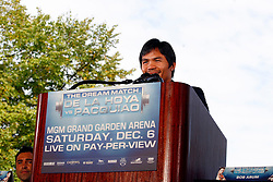 October 1, 2008; New York, NY, USA;  Manny Pacquaio speaks at the press conference announcing his December 6, 2008 fight against Oscar De La Hoya.  The two fighters will meet at the MGM Grand Garden Arena.