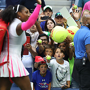 2016 U.S. Open - Day 8  Fans wait for an autograph from Serena Williams of the United States after her match  against Yaroslava Shvedova of Kazakhstan in the Women's Singles round four match on Arthur Ashe Stadium on day eight of the 2016 US Open Tennis Tournament at the USTA Billie Jean King National Tennis Center on September 5, 2016 in Flushing, Queens, New York City.  (Photo by Tim Clayton/Corbis via Getty Images)