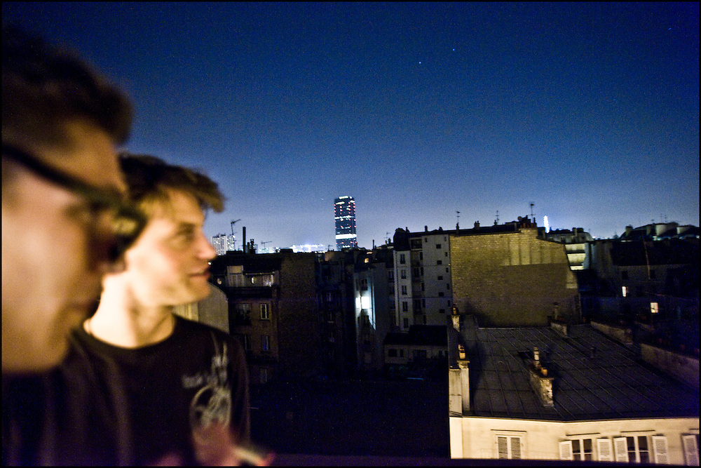 Douglas Radford and Francois Saintoyant, two french students are seen at a private party in the center of Paris.