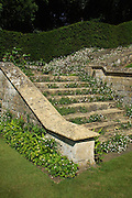 Creeping erigeron daisies tumble down the steps of an impressive lichen-encrusted Cotswold stone stairway.<br />