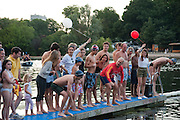 CHARLES FINCH; DAVID FLINTWOOD, Chucs Dive & Mountain Shop charity Swim Party: Lido at The Serpentine. London. 4 July 2011. <br /> <br />  , -DO NOT ARCHIVE-© Copyright Photograph by Dafydd Jones. 248 Clapham Rd. London SW9 0PZ. Tel 0207 820 0771. www.dafjones.com.