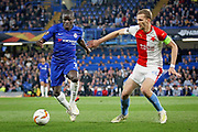 Chelsea FC midfielder N'golo Kante (7) and Slavia Prague's Tomáš Souček (22) during the Europa League quarter-final, leg 2 of 2 match between Chelsea and Slavia Prague at Stamford Bridge, London, England on 18 April 2019.