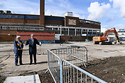 Council Leader Stephen Alambritis and Chief Executive Erik Samuelson mark the start of demolition work during the AFC Wimbledon Demolition Event, marking the start of building works at the AFC Wimbledon Stadium Site, Plough Lane, United Kingdom on 16 March 2018. Picture by Stephen Wright.