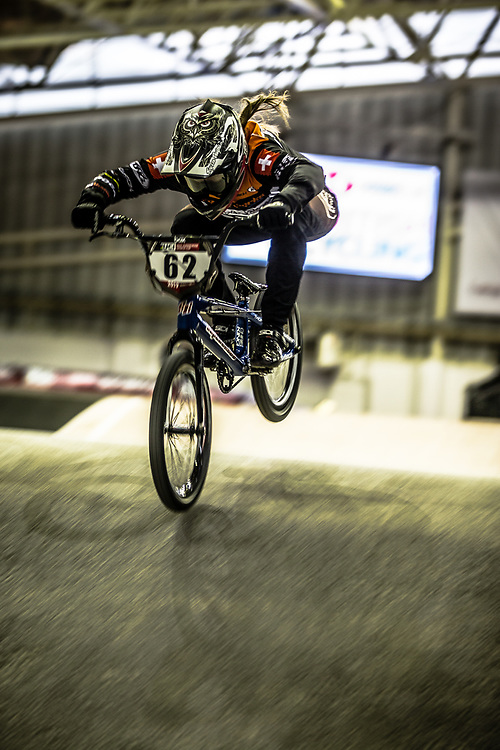 #62 (VON NIEDERHAUSERN Christa) SUI during practice at the 2019 UCI BMX Supercross World Cup in Manchester, Great Britain