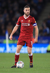 """Liverpool's Jordan Henderson during the Carabao Cup, third round match at the King Power Stadium, Leicester. PRESS ASSOCIATION Photo. Picture date: Tuesday September 19, 2017. See PA story SOCCER Leicester. Photo credit should read: Mike Egerton/PA Wire. RESTRICTIONS: EDITORIAL USE ONLY No use with unauthorised audio, video, data, fixture lists, club/league logos or """"live"""" services. Online in-match use limited to 75 images, no video emulation. No use in betting, games or single club/league/player publications."""