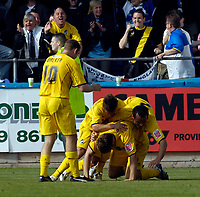 Photo: Jed Wee/Sportsbeat Images.<br /> Hartlepool United v Bristol Rovers. Coca Cola League 2. 05/05/2007.<br /> <br /> Bristol Rovers mob goalscorer Rickie Lambert after he clinches their playoff place.