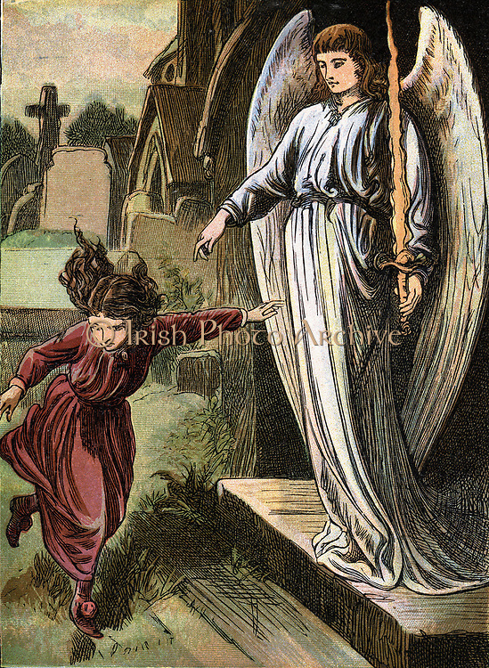The Red Shoes' Fairy story by Hans Christian Andersen. Karen in her magic red shoes, unable to stop and hear what angel says because they compel her to dance and dance. Chromolithograph c1880.