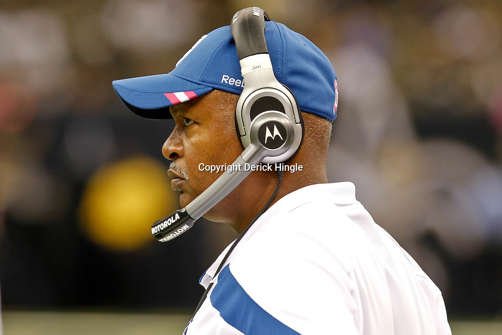 October 23, 2011; New Orleans, LA, USA; Indianapolis Colts head coach Jim Caldwell watches from the sideline during the fourth quarter of a game against the New Orleans Saints at the Mercedes-Benz Superdome. The Saints defeated the Colts 62-7. Mandatory Credit: Derick E. Hingle-US PRESSWIRE / © Derick E. Hingle 2011