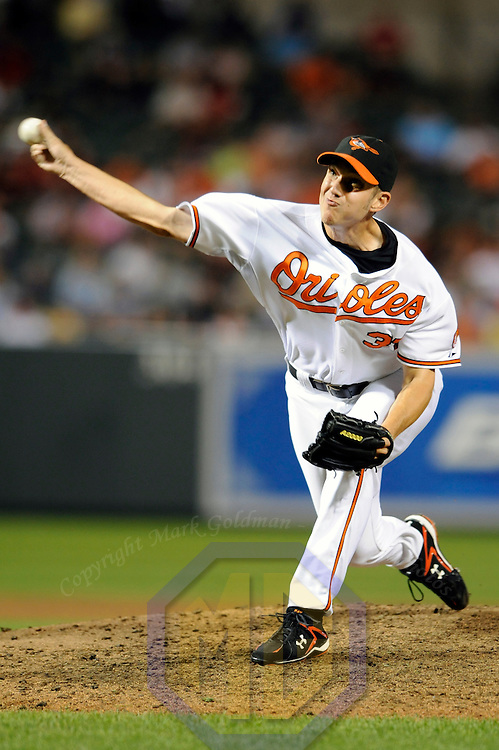 29 June 2009:  Baltimore Orioles relief pitcher Chris Ray (37) pitches in the 9th inning against the Boston Red Sox at Camden Yards in Baltimore, MD.  The Red Sox defeated the Orioles 4-0.  ****For Editorial Use Only****