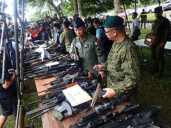 June 8, 2017 - Philippines - Seized ammunitions from the Maute/ISIS terrorst groups were presented in Camp Ranao, Marawi City during the visit of Defense Secretary, Delfin Lorenzada. (Credit Image: © Sherbien Dacalanio/Pacific Press via ZUMA Wire)