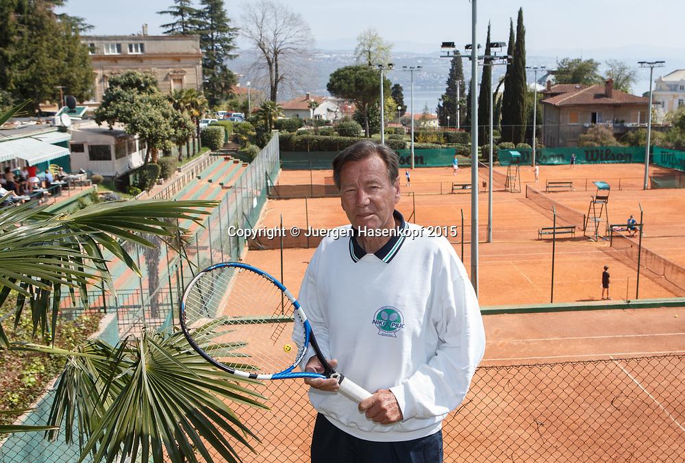 Portrait von Tennis Trainer Legende Niki Pilic  in seinem Club in Opatija, Kroatien<br /> <br /> travel - Niki Pilic in Opatija, Kroatien -  -  TENIS KLUB OPATIJA - Opatija -  - Croatia  - 10 April 2015. <br /> &copy; Juergen Hasenkopf