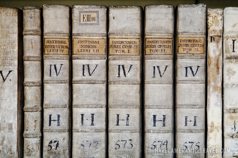 Very old books in the collection of the Strahov Library.