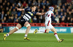 Bristol Rugby Lock Ian Evans tackles Doncaster Knights replacement Dougie Flockhart - Mandatory byline: Joe Meredith/JMP - 25/05/2016 - RUGBY UNION - Ashton Gate Stadium - Bristol, England - Bristol Rugby v Doncaster Knights - Greene King IPA Championship Play Off FINAL 2nd Leg.
