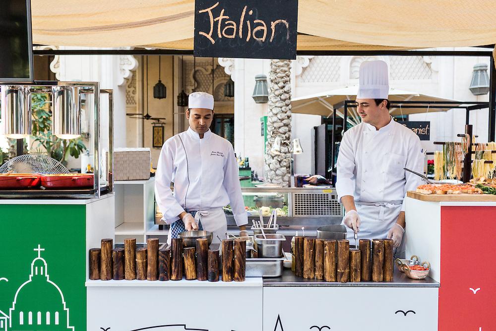 DUBAI, UAE - DECEMBER 18, 2015: The Italian live cooking station at the Arboretum restaurant, located in Jumeirah Al Qasr, Madinat Jumeirah Resort.