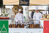 DUBAI, UAE - DECEMBER 18, 2015: The Italian live cooking station at the Arboretum restaurant, located in Jumeirah Al Qasr, Madinat Jumeirah Resort.