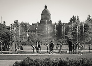 Children playing in fountains in front of the Capital Building - Olympia, WA