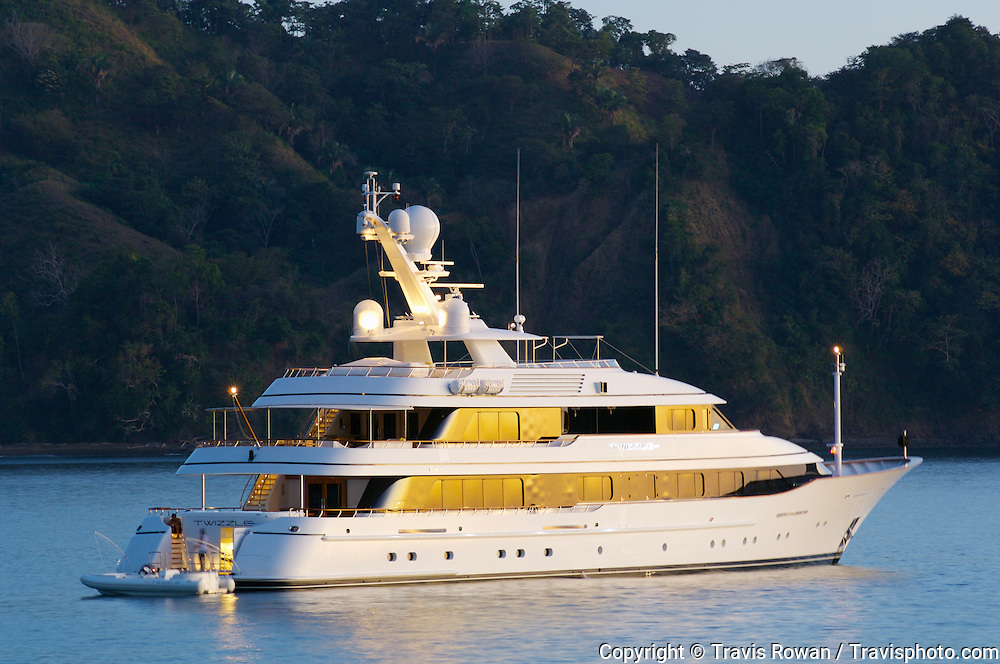 "The 180' private yacht ""Twizzle"" anchored just outside of Los Suenos Marina on Costa Rica's pacific coast."