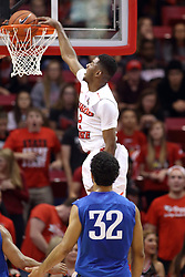 14 November 2016:  DJ Clayton(2) stuffs the ball through the hoop in front of Kason Harrell(32) during an NCAA  mens basketball game between the Indiana Purdue Fort Wayne Mastodons the Illinois State Redbirds in Redbird Arena, Normal IL
