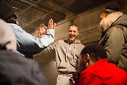 Cast members celebrate after the very first performance of Phoenix Rising.<br /> The full-scale production, which runs from 8th Nov - 2nd of Dec 2017 under Smithfield Meat Market, has been put together by charity The Big House, a charity that helps troubled youths who have been in care.