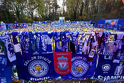LEICESTER, ENGLAND - Saturday, November 10, 2018: Scarves, shirts and flowers left by supporters as tributes for Leicester City's chairman Vichai Srivaddhanaprabha, who died in a helicopter crash on Oct 27, before the FA Premier League match between Leicester City FC and Burnley FC at the King Power Stadium. (Pic by David Rawcliffe/Propaganda)