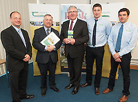 Michael Gottstein, Teagasc, Prof Gerry Boyle Director Teagasc , Minister Tom Hayes,  Ciaran Lynch Teagasc, Shane McHugh Teagasc at the launch of Sheep2015 to be held on Saturday the 20th of June 2015 at the Mellows Campus in Athenry Co. Galway.<br />  Photo by Andrews Downes XPOSURE