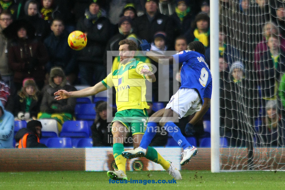 Clayton Donaldson of Birmingham and Steven Whittaker of Norwich in action during the Sky Bet Championship match at St Andrews, Birmingham<br /> Picture by Paul Chesterton/Focus Images Ltd +44 7904 640267<br /> 31/01/2015