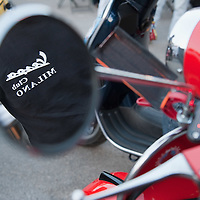 MILAN, ITALY - JUNE 05:  A reflection of a Vespa logo is seen on a Vespa mirror ahead of the start of the Vespa race on June 5, 2010 in Milan, Italy. Vespa is one of the best known Italian icons, the special Vespa weekend is the XV edition of the famous  500km night race  (Photo by Marco Secchi/Getty Images)