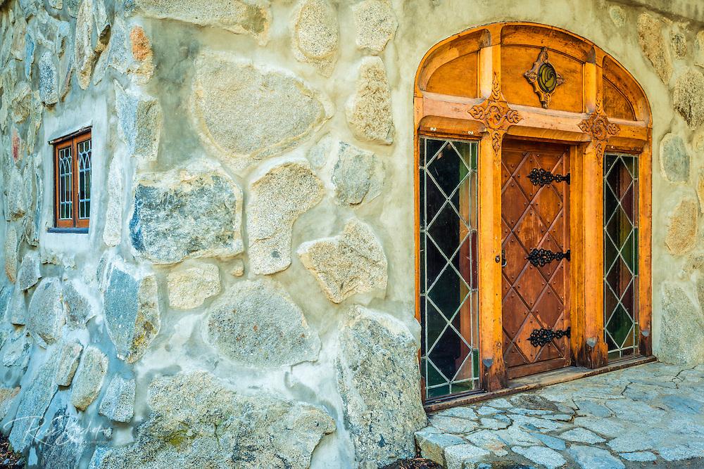 Main entrace at Vikingsholm castle, Emerald Bay State Park, Lake Tahoe, California USA