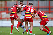 Bradford Bulls replacement Ross Peltier (17) is tackled  during the Kingstone Press Championship match between Dewsbury Rams and Bradford Bulls at the Tetley's Stadium, Dewsbury, United Kingdom on 10 September 2017. Photo by Simon Davies.